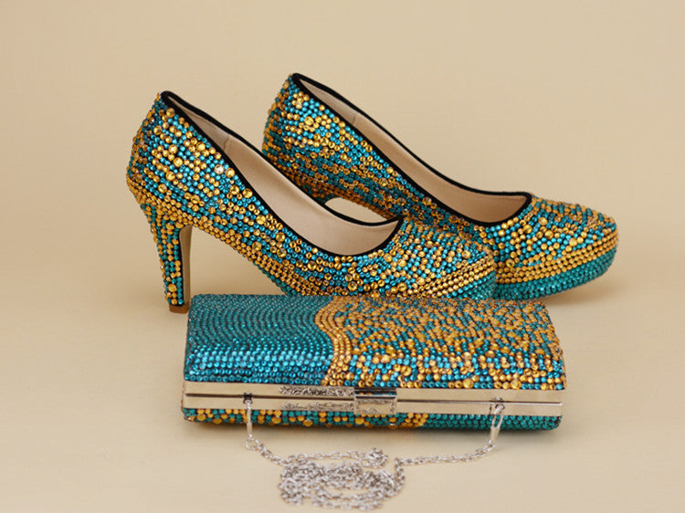 Blue mix with gold crystal Women wedding shoes with matching bags fashiom girl's party dress shoe and purse sets