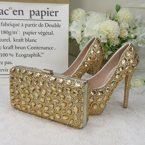 Champagne crystal women Wedding shoes with matching bags Luxury Rhinestone high heels platform shoes women party dress shoes