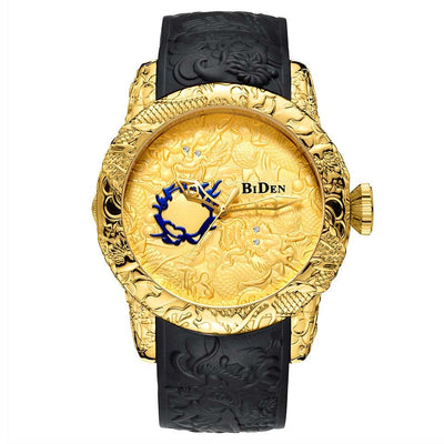 3D Dragon Sculpture Men Watch Laser Engrave Carving Leather Band