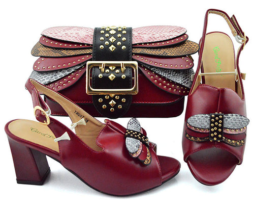Elegant wine red italian shoes matching bag set 2019 new arrival sandal shoes and clutches bag maroon sandal shoes bag SB8365-7