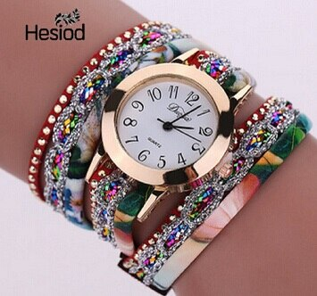 Synthetic Leather Women Fashion Crystal Bracelet Watches with Roman Numeral Relojes