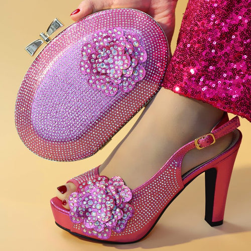Fuchsia Color High Heeled Shoes for Women Italian Shoes with Matching Bags Set Decorated with Rhinestone High Heels Pumps