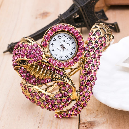 Gold Luxury Serpentine Women Rhinestones Bracelet Watch