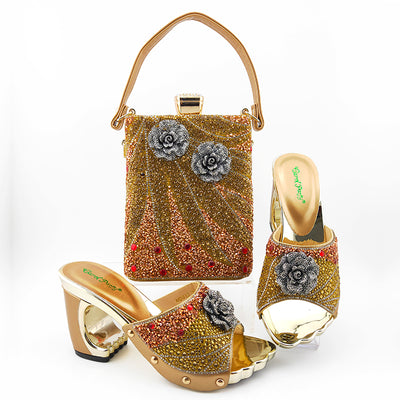 Green Color African Shoes With Matching Bags Set Nigerian Women's Party Shoes and Bag Sets High Slipper And Handbag