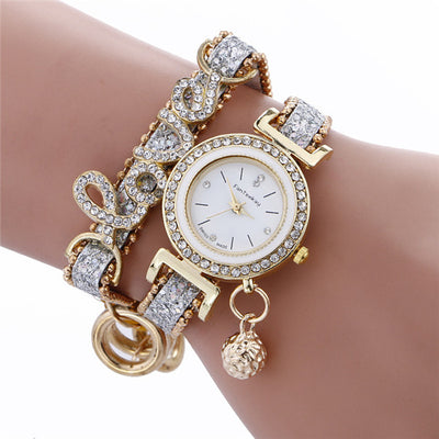 Luxury Female Wrist Watch Bracelet with Love Crystal Letters