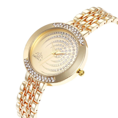 Luxury Women Bracelet Quartz Crystal Rhinestone Watch