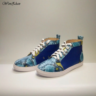 Latest Match Blue&Snake Leather Shoes With Handbag Sets Top Grade With Big Bag Hot Selling! 36-44 WENZHAN Wholesale A812-1