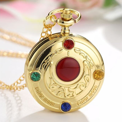 Lovely Quartz Pocket Watches with Japan Anime Magic Girl Sakura Cartoon Star Cosplay Gold Pendant Necklace Fob Chain