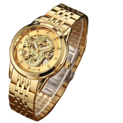 Luxury Gold Dragon Skeleton Automatic Mechanical Men's Wristwatch Stainless Steel