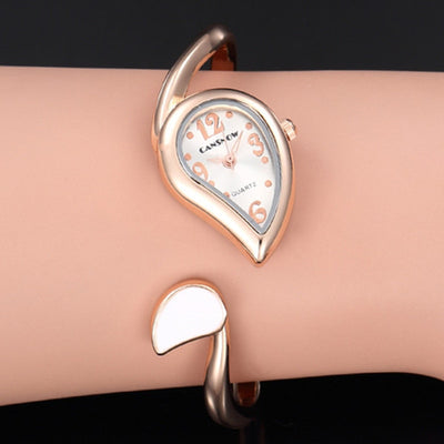 Luxury Women Bangle Watches Fashion Water Drop Shape Stainless Steel Wristwatch