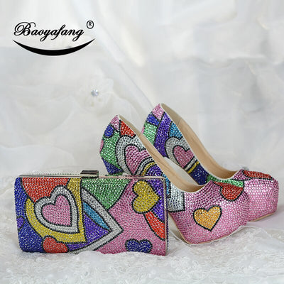 Multicolore crystal wedding shoes with matching bags fashion shoes womens Pumps High heels Party dress shoe big size 43