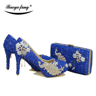 New Royal Blue pearl Women wedding shoes with matching bags bride High heels platform shoes Peacock Ladies Paty shoe and bag set