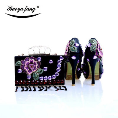 Peep Toe Womens wedding shoes with matching bags Shining Crystal real leather Bride shoes and purse Lavender color handmade shoe