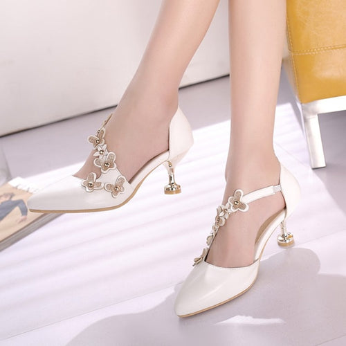 Plus Size 34-46 Fashion Sexy Women Flower Rivets Sandals Pointed Toe Thin High Heels Summer Dress Party Pumps Shoes Footwear New