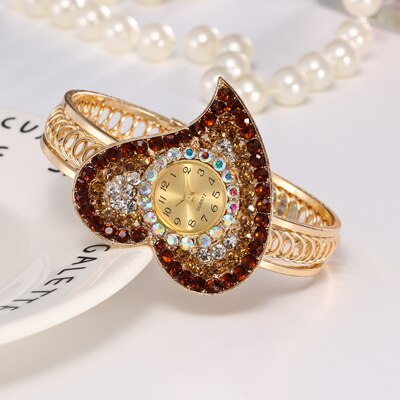 Women Jewelry Rhinestone Heart Shape Bangle Watches