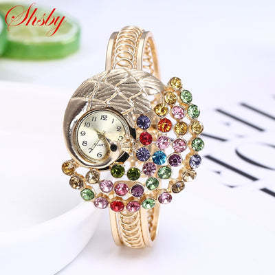 Women Jewelry Casual Bracelet Watch, Lady Peacock Relogio Rhinestone Analog Quartz Watch