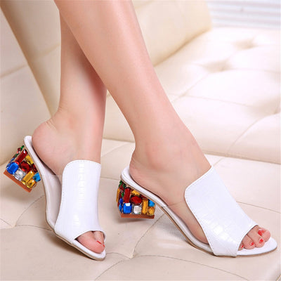 Summer Women's Rhinestone Crystals Heels Peep Toe Shoes Woman Sandals Square Heeled Pumps Ladies Slides Women Slippers