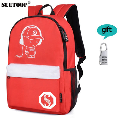 New USB Charge Luminous Unisex School Bag or Backpack for Boys or Girls