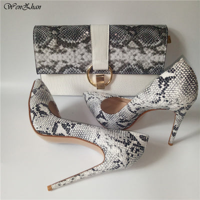 Fashion High Heel shoes Snake Printed Leather 12cm women shoes pumps With Matching Clutch Bags Sets White Color 36-42