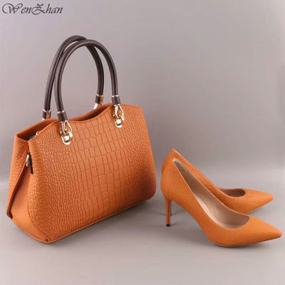 High Heels Women Sexy Pumps With Handbag Sets Thin Heel Pointed Toe Match Beautiful Leather Women Gripesack 0711-16