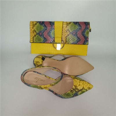 Pretty Low Heel Slipper shoes Snake Printed Leather 7cm women shoes pumps With Matching Clutch Bags Sets 36-43 710-24
