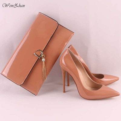 Women's High Heels Women Sexy Pumps With Handbag,Thin Heel Pointed Toe Match Women Gripesack Apply For Any Occasion11-30