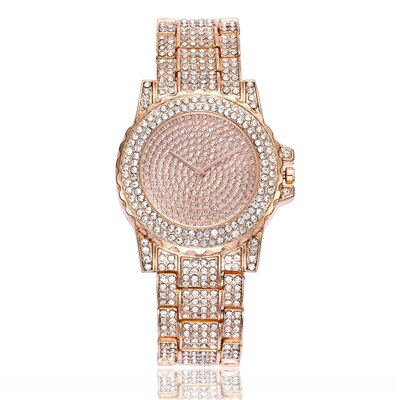 Fashion Bling Casual Ladies Quartz Gold Watch with Crystal Diamond