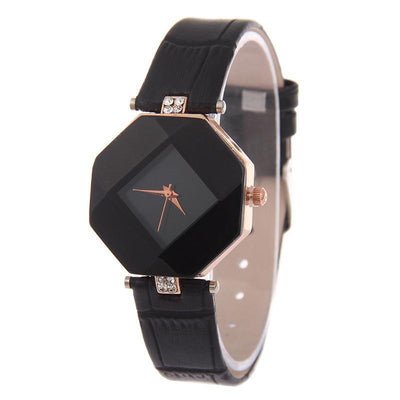 Women Watches, Gem Cut Geometry Crystal Leather Fashion Quartz Wristwatch