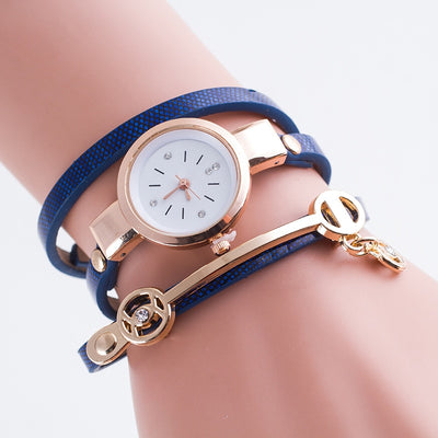 Top Brand Luxury Leather Quartz Watch with Gold Ball Crystal Pendant Charm