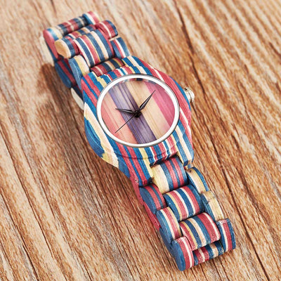 Ladies Wooden Quartz Wristwatch with Colorful Printing