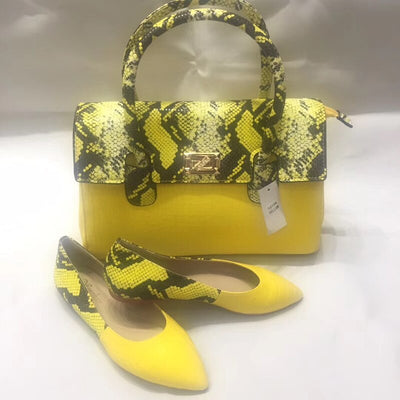 Women Handbag Shoes Mixed Snake Leather Good Quality Soft Shoes With Big Bag Hot Selling! 36-43 WENZHAN Wholesale A93-19