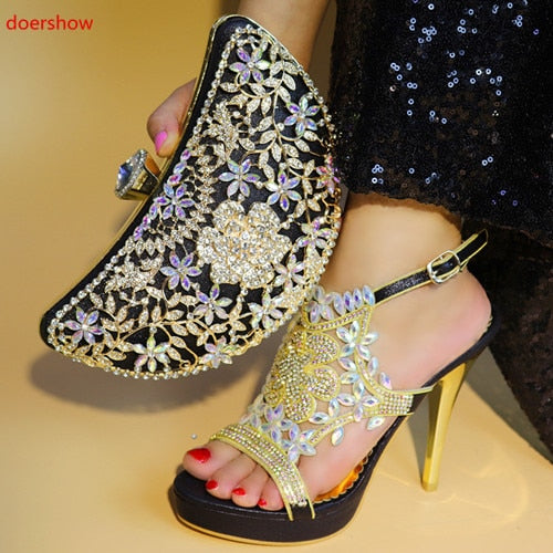 New black color Italian Shoes With Matching Bags African Women Shoes and Bags Set For Prom Party Summer Sandal PAB1-36