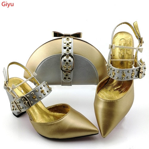 African Shoes And Bag Matching Set With orange Hot Selling Women Italian Shoes And Bag Set For Wedding!HJK1-5