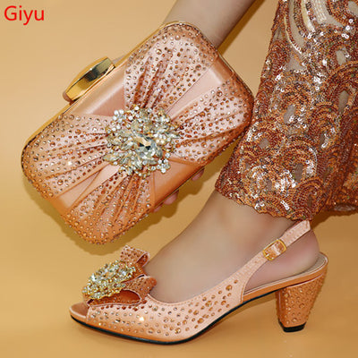 Very Pretty Peach Italian Shoes With Matching Bag High Quality Italy Shoe And Bag set For wedding and party HLO1-15