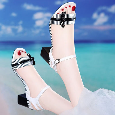 Summer ins women shoes 4cm-5cm heel height women sandals size 34-40 open toe square heel sandals lady sandals