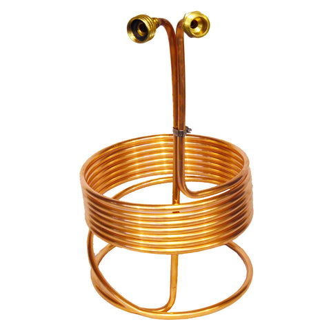 25' Copper Immersion Wort Chiller Braised W/ Garden Hose Fittings