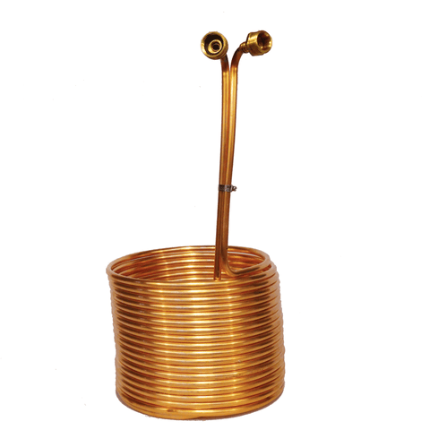 50' Copper Immersion Wort Chiller with Braised Garden Hose Fittings.