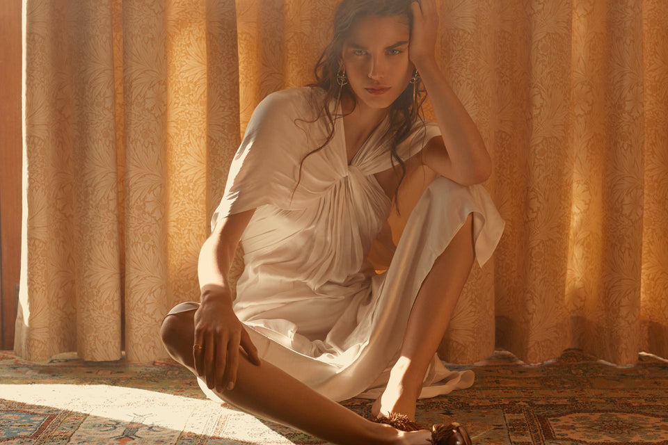 CARL KAPP SS2019 collection photographed in Sydney Australia | White Satin Dress