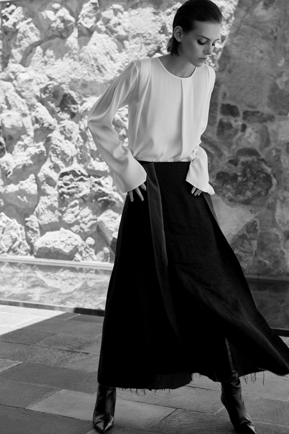 CARL KAPP AW2019 collection in Sydney Australia | Puffin White Silk Top, Rosella Skirt
