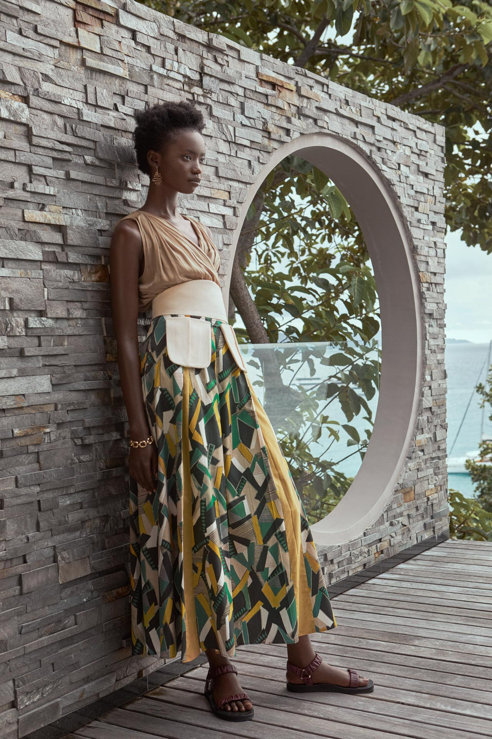 CARL KAPP SS2020 collection in Seychelles Six Senses Zil Pasyon | Claudine top, Reef skirt