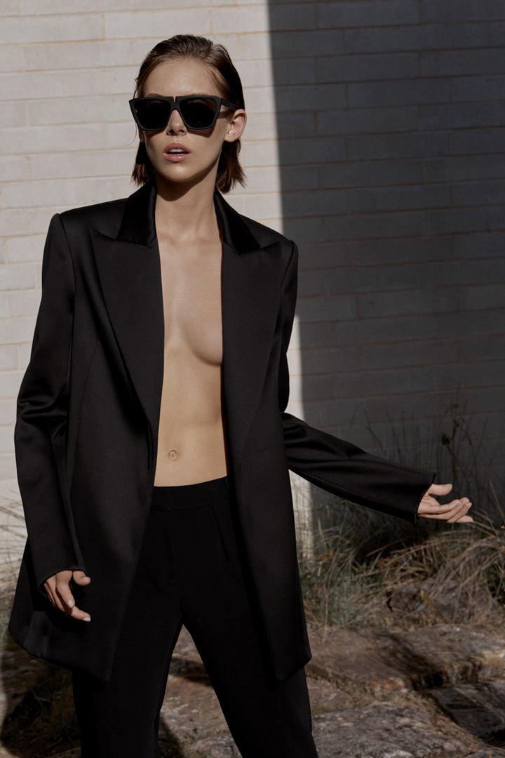 Fashion Designer CARL KAPP collection | Obsidian Tailored Structured Black Satin Jacket | Sydney Australia