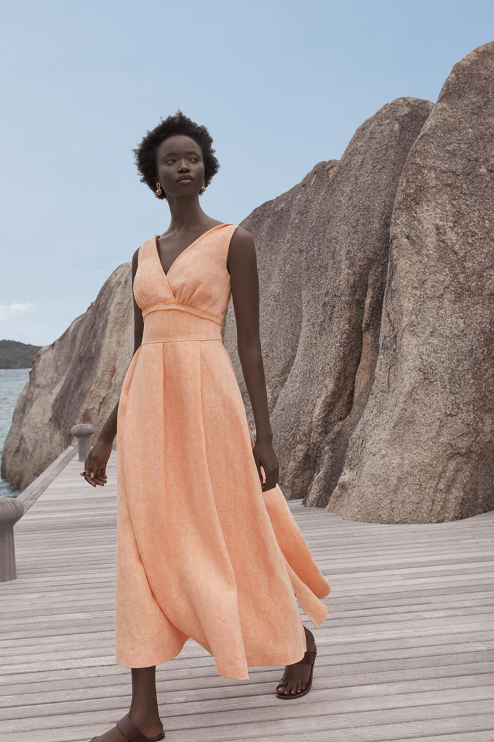 Fashion Designer CARL KAPP collection | Vallon A-line v neck cocktail linen dress orange | Sydney Australia