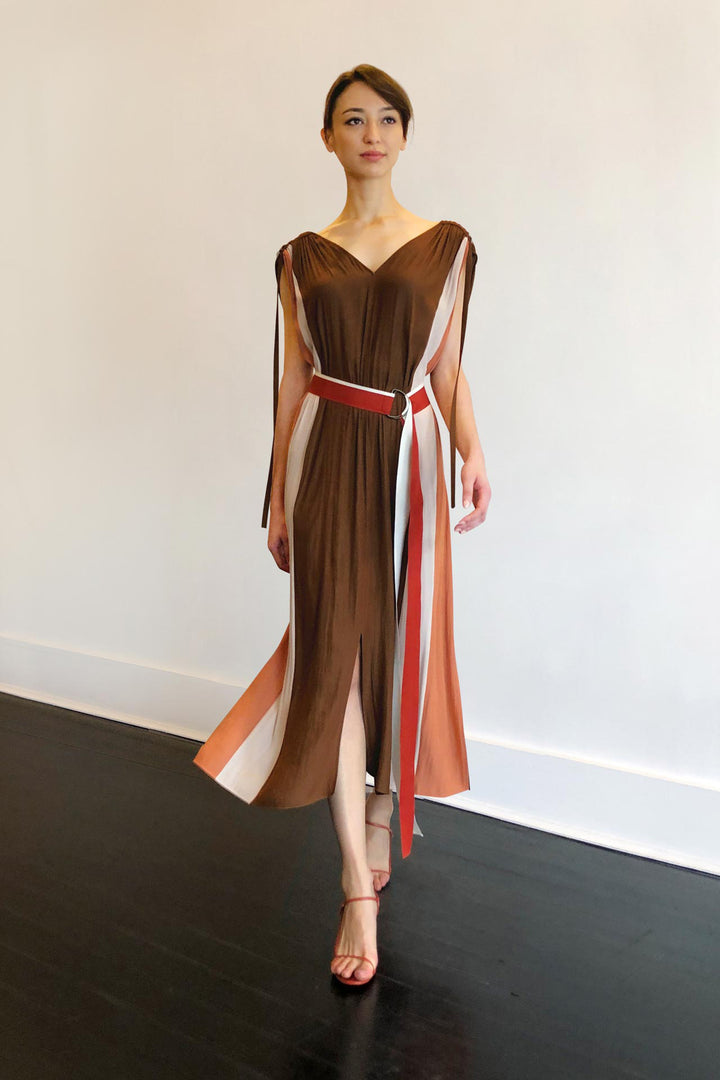 Fashion Designer CARL KAPP collection | Bel Air Dress Brown | Sydney Australia