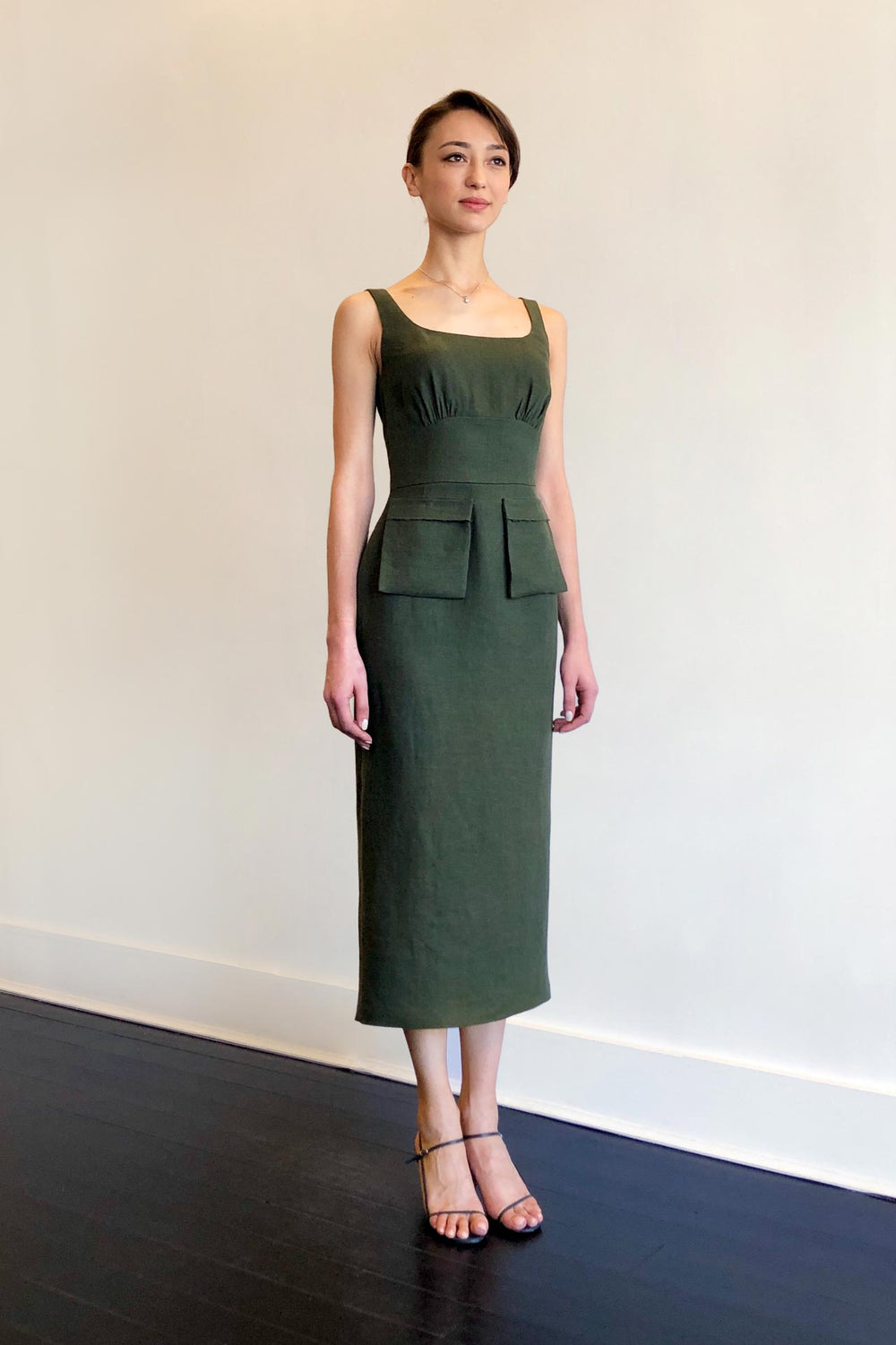 Fashion Designer CARL KAPP collection | Boulder Linen dress Green | Sydney Australia