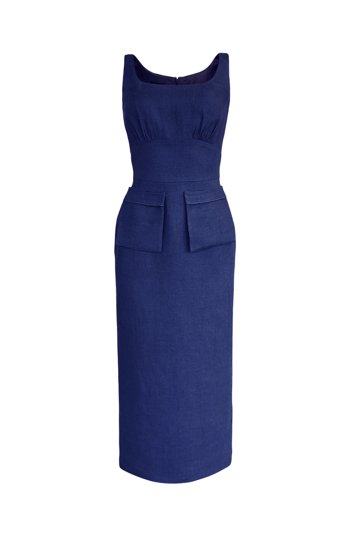 Fashion Designer CARL KAPP collection | Boulder Linen dress Navy | Sydney Australia