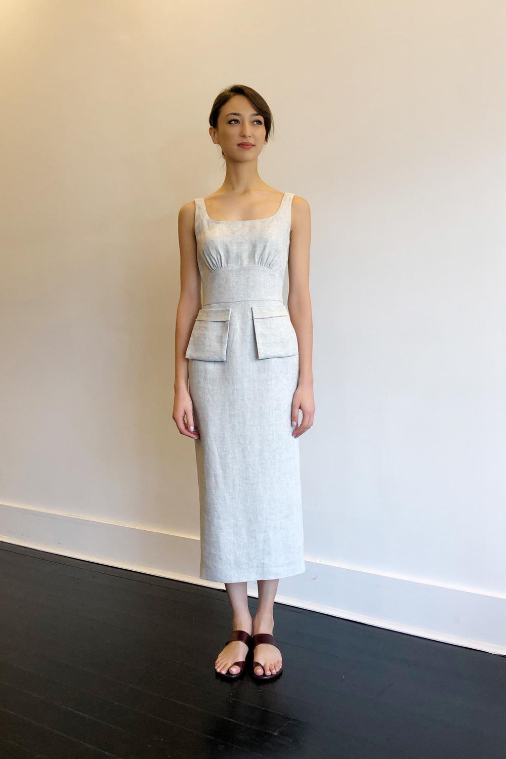 Fashion Designer CARL KAPP collection | Desroches Linen dress White | Sydney Australia