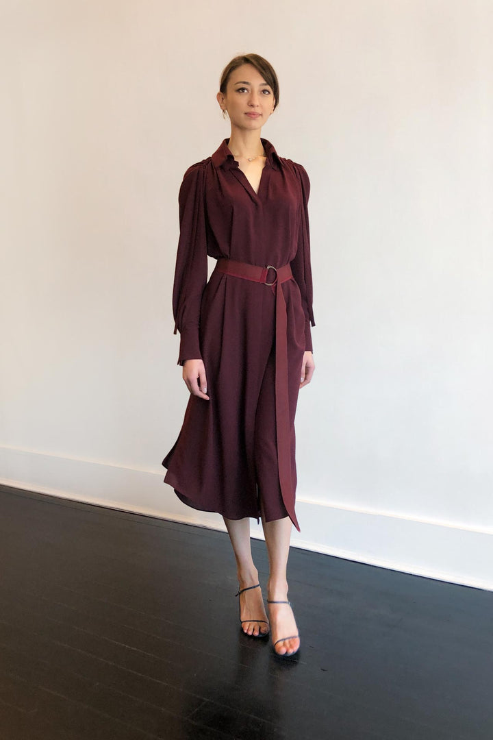 Fashion Designer CARL KAPP collection | Pheasant Onesize Fits All cocktail dress with sleeves Maroon | Sydney Australia