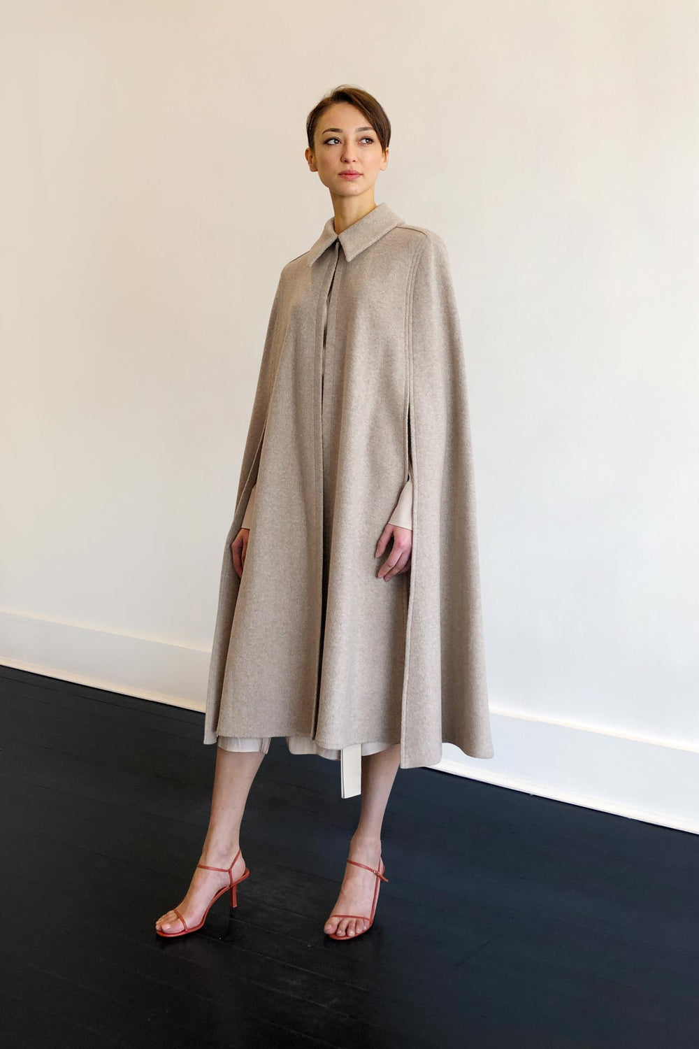 Fashion Designer CARL KAPP collection | Imperial Wool Beige Cape for cocktail, work | Sydney Australia