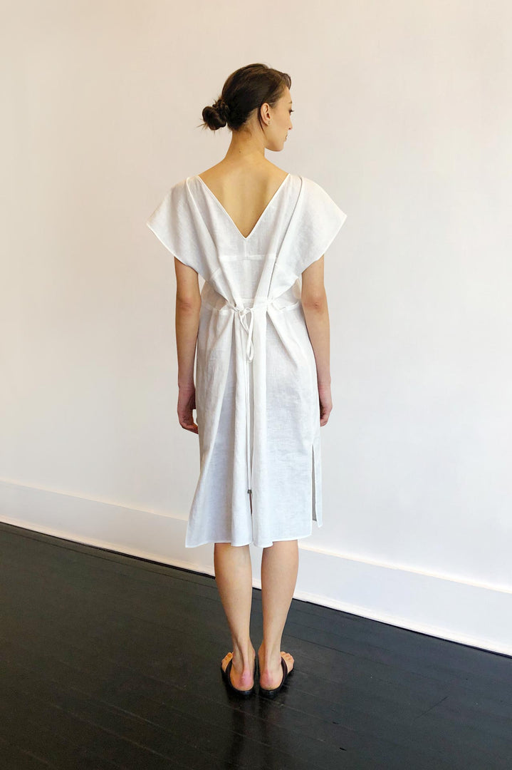 Fashion Designer CARL KAPP collection | Lisa Onesize Fits All White Linen dress | Sydney Australia