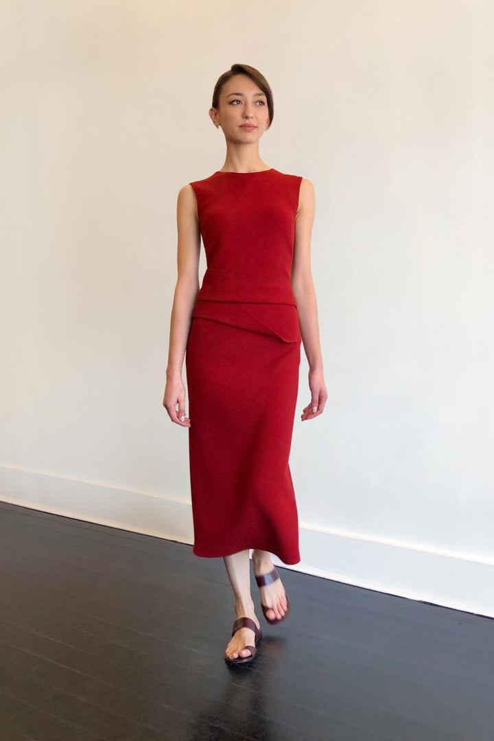 Fashion Designer CARL KAPP collection | Luna structured wool crepe dress Red | Sydney Australia